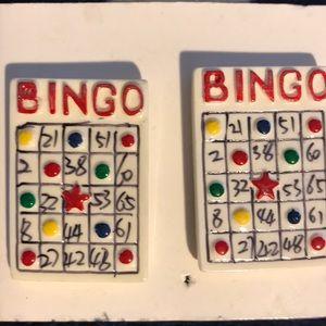 Jewelry - Vintage Bingo Card Pierced Earrings